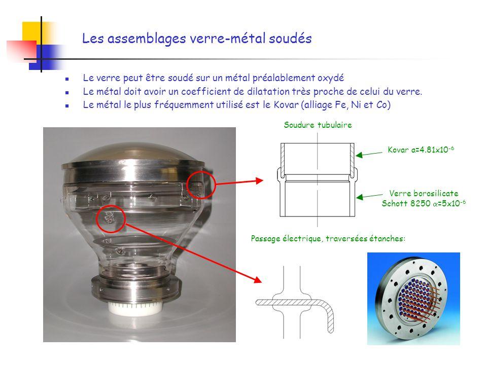 Les assemblages verre-métal soudés Le verre peut être soudé sur un métal préalablement oxydé Le métal doit avoir un coefficient de dilatation très pro