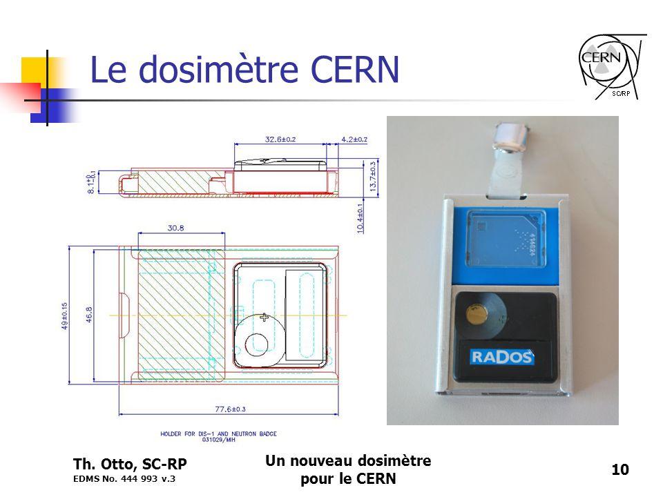 Th. Otto, SC-RP EDMS No. 444 993 v.3 Un nouveau dosimètre pour le CERN 10 Le dosimètre CERN