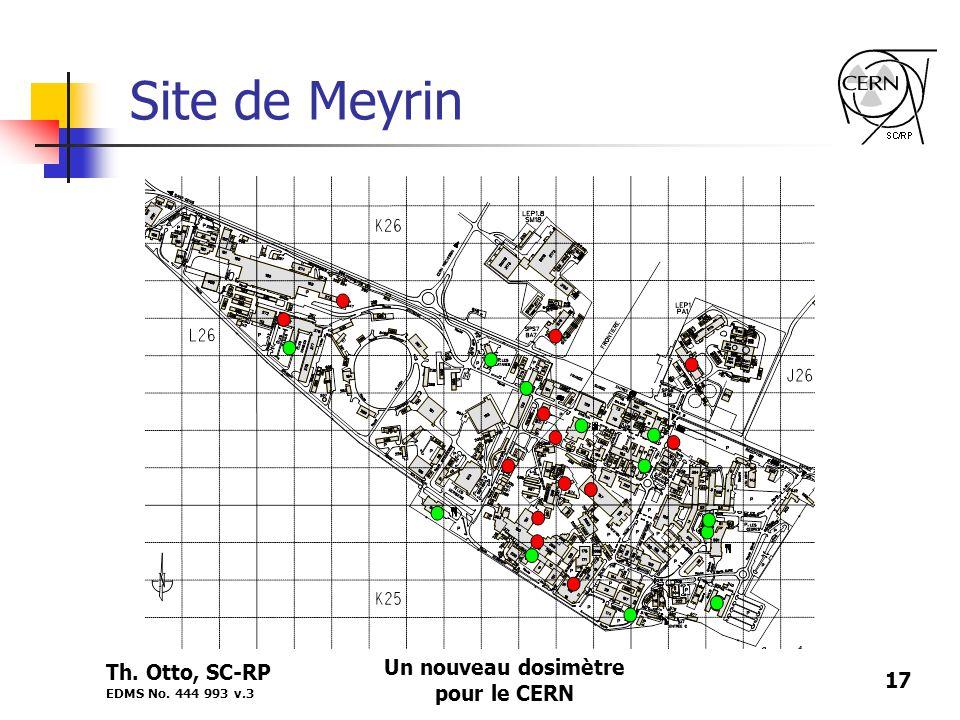 Th. Otto, SC-RP EDMS No. 444 993 v.3 Un nouveau dosimètre pour le CERN 17 Site de Meyrin