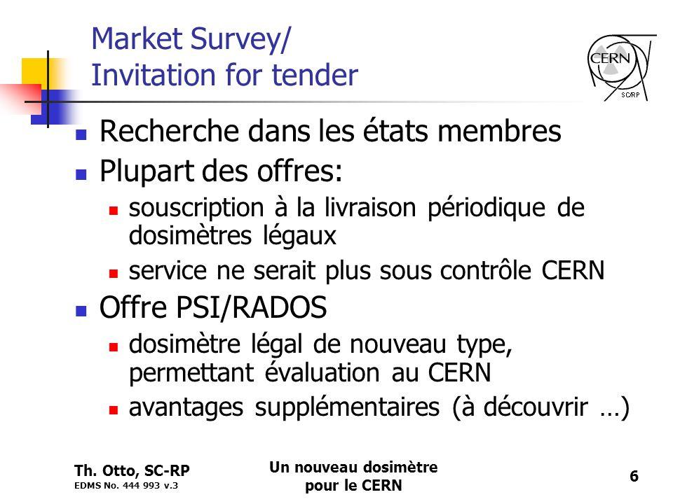 Th. Otto, SC-RP EDMS No. 444 993 v.3 Un nouveau dosimètre pour le CERN 6 Market Survey/ Invitation for tender Recherche dans les états membres Plupart