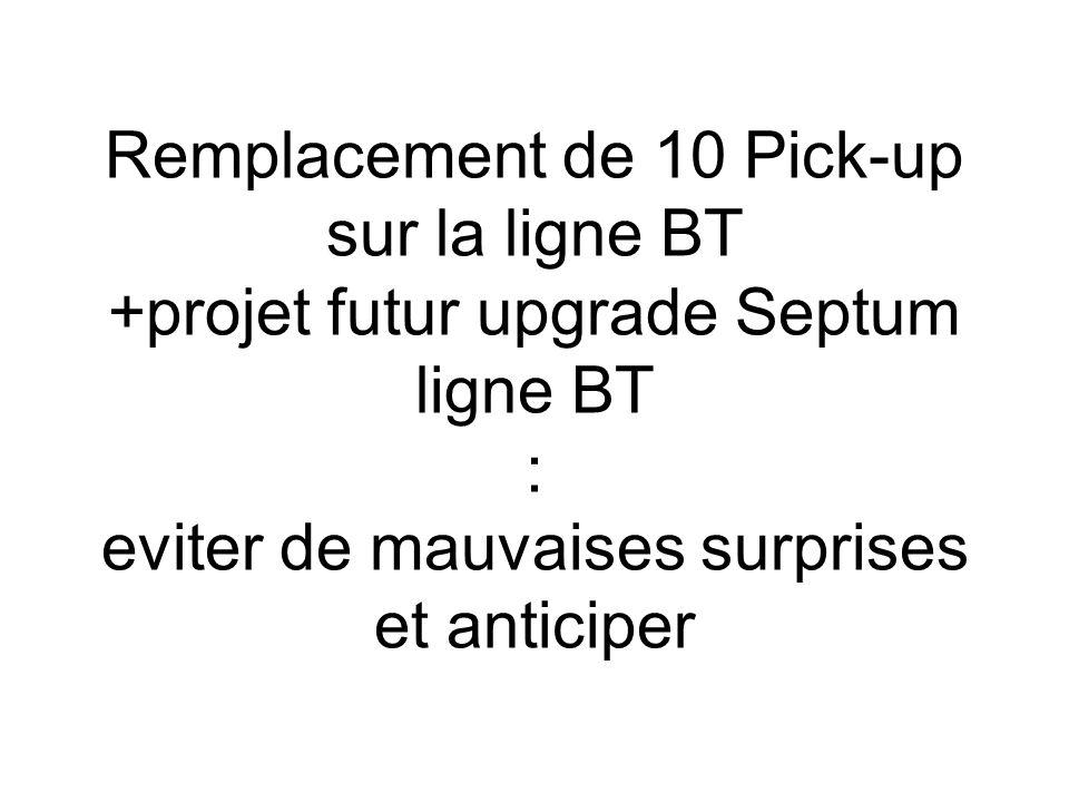 Remplacement de 10 Pick-up sur la ligne BT +projet futur upgrade Septum ligne BT : eviter de mauvaises surprises et anticiper