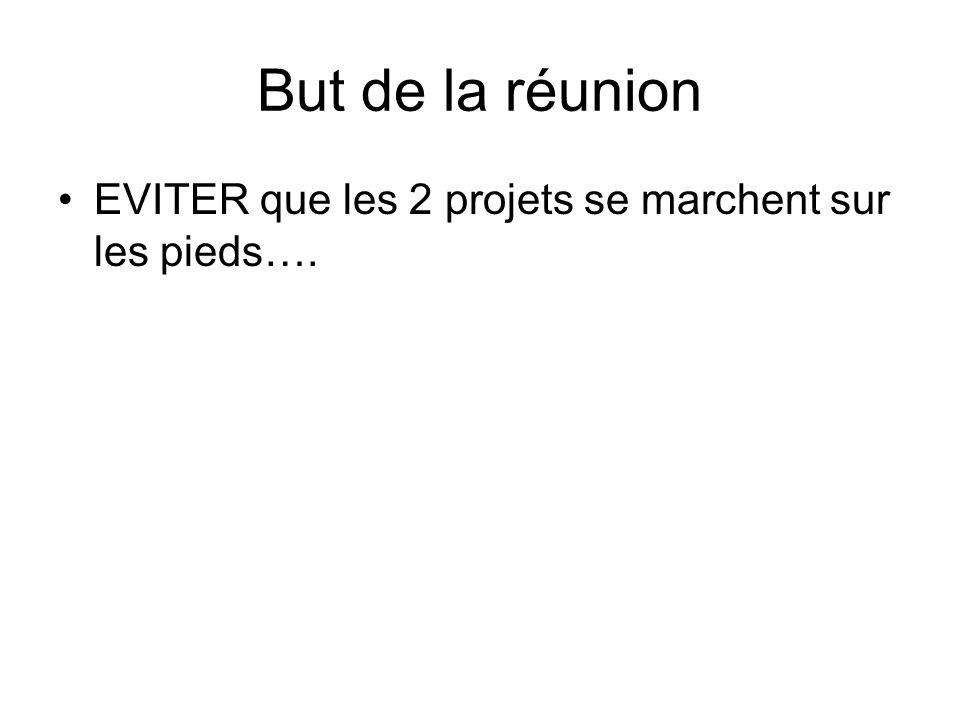But de la réunion EVITER que les 2 projets se marchent sur les pieds….