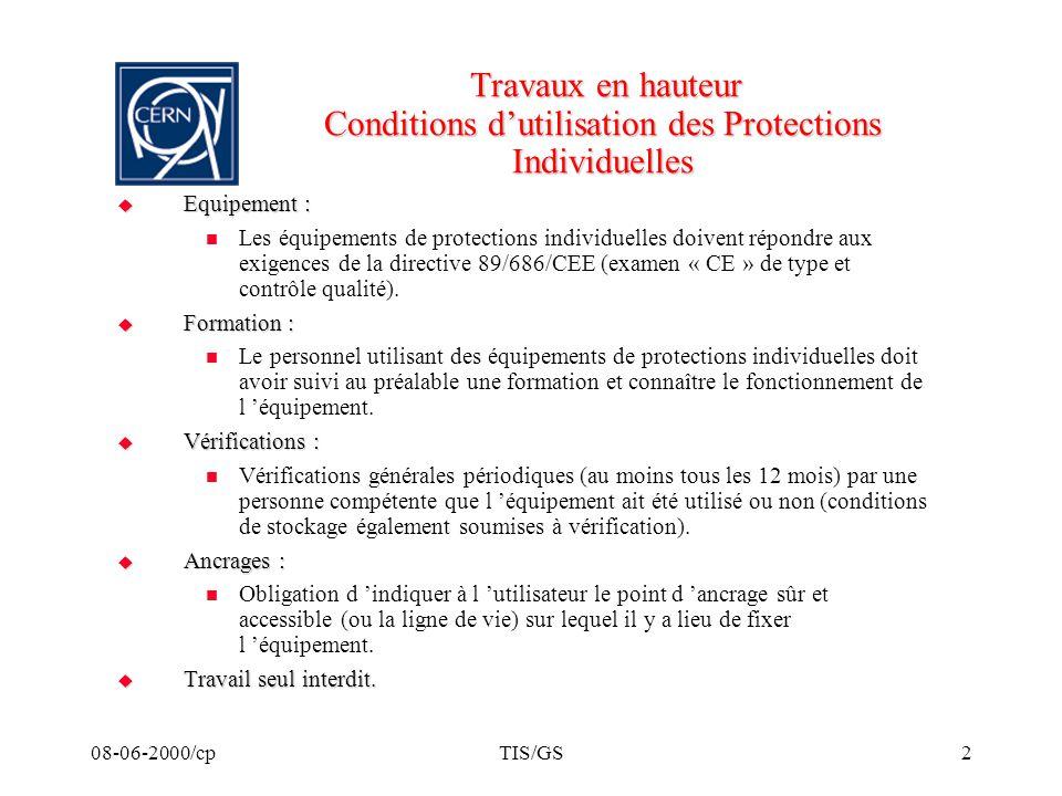 08-06-2000/cpTIS/GS2 Travaux en hauteur Conditions dutilisation des Protections Individuelles Travaux en hauteur Conditions dutilisation des Protectio