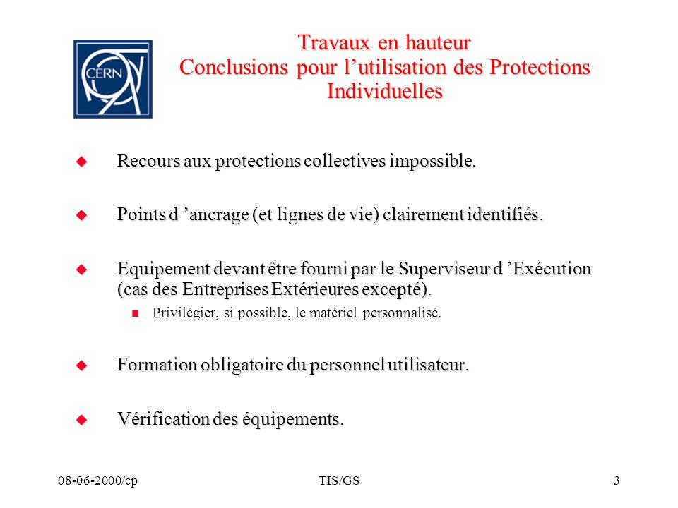 08-06-2000/cpTIS/GS3 Travaux en hauteur Conclusions pour lutilisation des Protections Individuelles Recours aux protections collectives impossible. Re