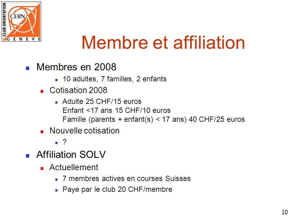 10 Membre et affiliation Membres en 2008 10 adultes, 7 familles, 2 enfants Cotisation 2008 Adulte 25 CHF/15 euros Enfant <17 ans 15 CHF/10 euros Famille (parents + enfant(s) < 17 ans) 40 CHF/25 euros Nouvelle cotisation .