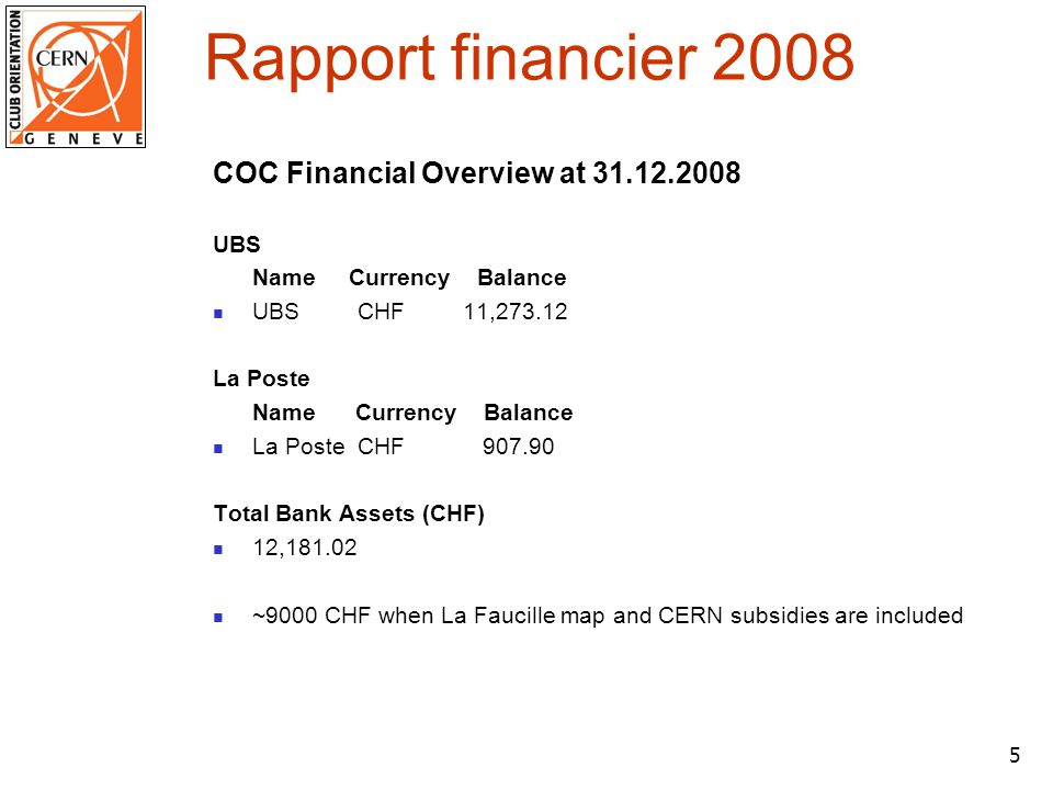 6 Commentaires du trésorier Income from courses steady ~4000 CHF/year 2008 10 COs 400 CHF par CO Increased popularity but no increased income Other clubs organizing No increase of course fee since many years Many thanks to Crispin Williams !!.