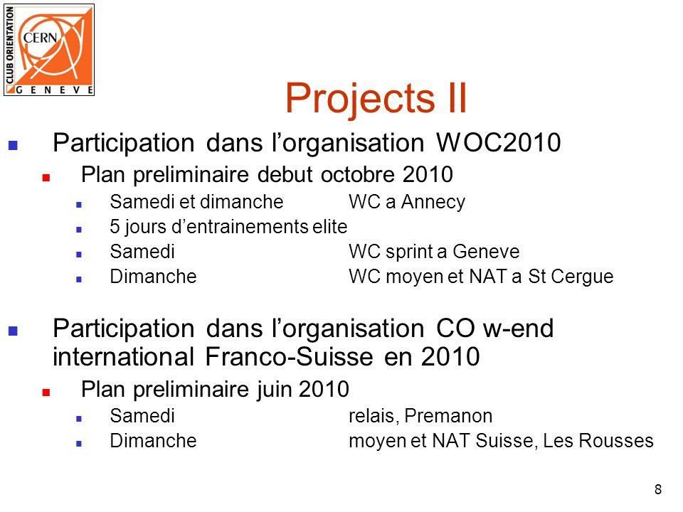 9 Projects III Participation dans lorganisation WC2012 Plan preliminaire Juillet 2012 sprint, long distance et relais a region Lausanne moyen distance a Givrine 5/6 jours de Suisse avec 3-4000 participants