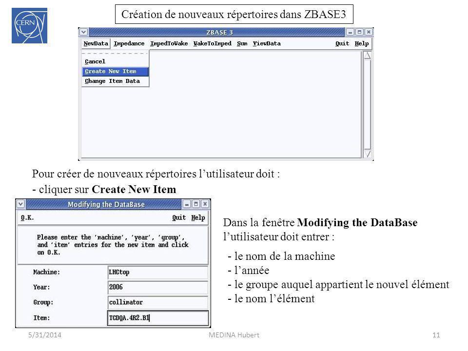 Création de nouveaux répertoires dans ZBASE3 11MEDINA Hubert5/31/2014 Pour créer de nouveaux répertoires lutilisateur doit : - cliquer sur Create New