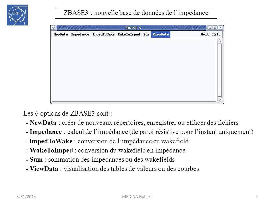 ZBASE3 : nouvelle base de données de limpédance 9MEDINA Hubert5/31/2014 Les 6 options de ZBASE3 sont : - NewData : créer de nouveaux répertoires, enre