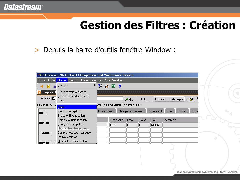 Gestion des Filtres : Création >Depuis la fonction : Le filtre est affiché dans la barre doutils D7i