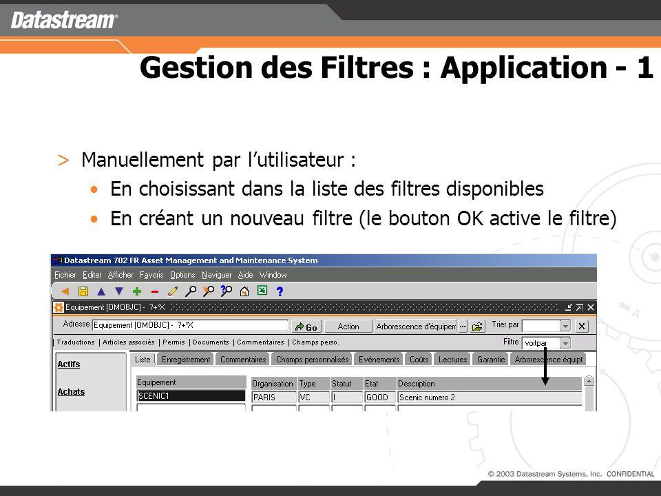 Gestion des Filtres : Création >Un écran de saisie pour créer le filtre