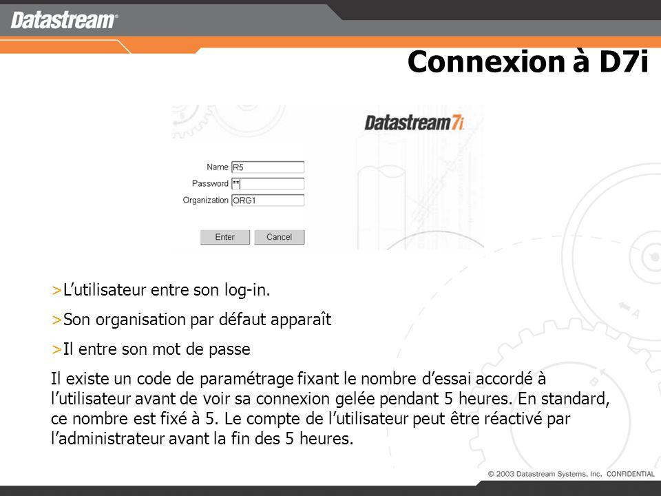 Connexion à D7i >Lutilisateur entre son log-in.