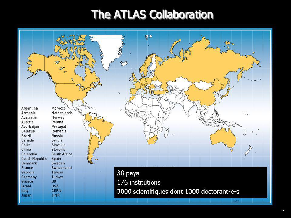 . 38 pays 176 institutions 3000 scientifiques dont 1000 doctorant-e-s The ATLAS Collaboration