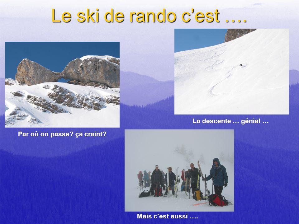 Le ski de rando cest …. Par où on passe? ça craint? La descente … génial … Mais cest aussi ….