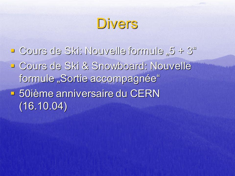 Divers Cours de Ski: Nouvelle formule 5 + 3 Cours de Ski: Nouvelle formule 5 + 3 Cours de Ski & Snowboard: Nouvelle formule Sortie accompagnée Cours d