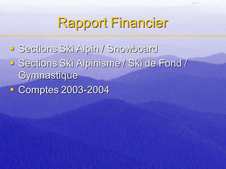 Rapport Financier Sections Ski Alpin / Snowboard Sections Ski Alpin / Snowboard Sections Ski Alpinisme / Ski de Fond / Gymnastique Sections Ski Alpinisme / Ski de Fond / Gymnastique Comptes 2003-2004 Comptes 2003-2004