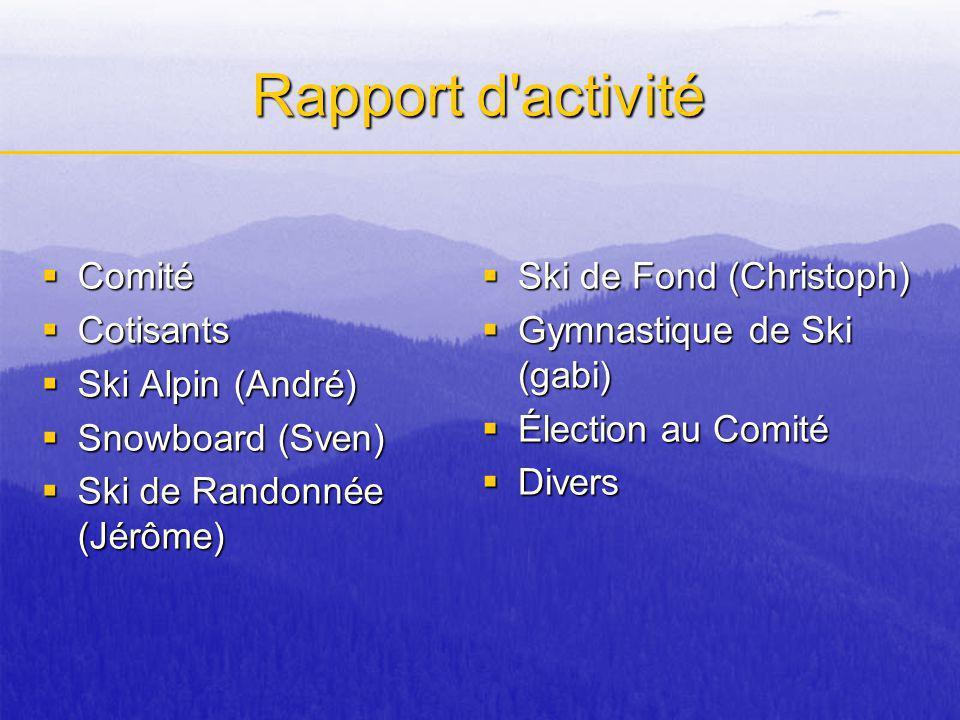 Rapport d'activité Comité Comité Cotisants Cotisants Ski Alpin (André) Ski Alpin (André) Snowboard (Sven) Snowboard (Sven) Ski de Randonnée (Jérôme) S