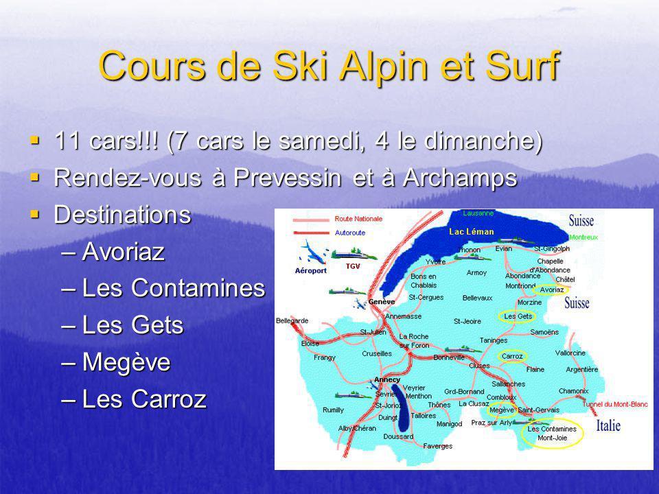 Cours de Ski Alpin et Surf 11 cars!!! (7 cars le samedi, 4 le dimanche) 11 cars!!! (7 cars le samedi, 4 le dimanche) Rendez-vous à Prevessin et à Arch
