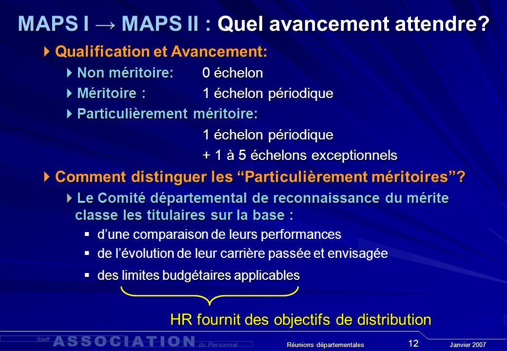 Janvier 2007 Réunions départementales 12 MAPS I MAPS II : Quel avancement attendre.