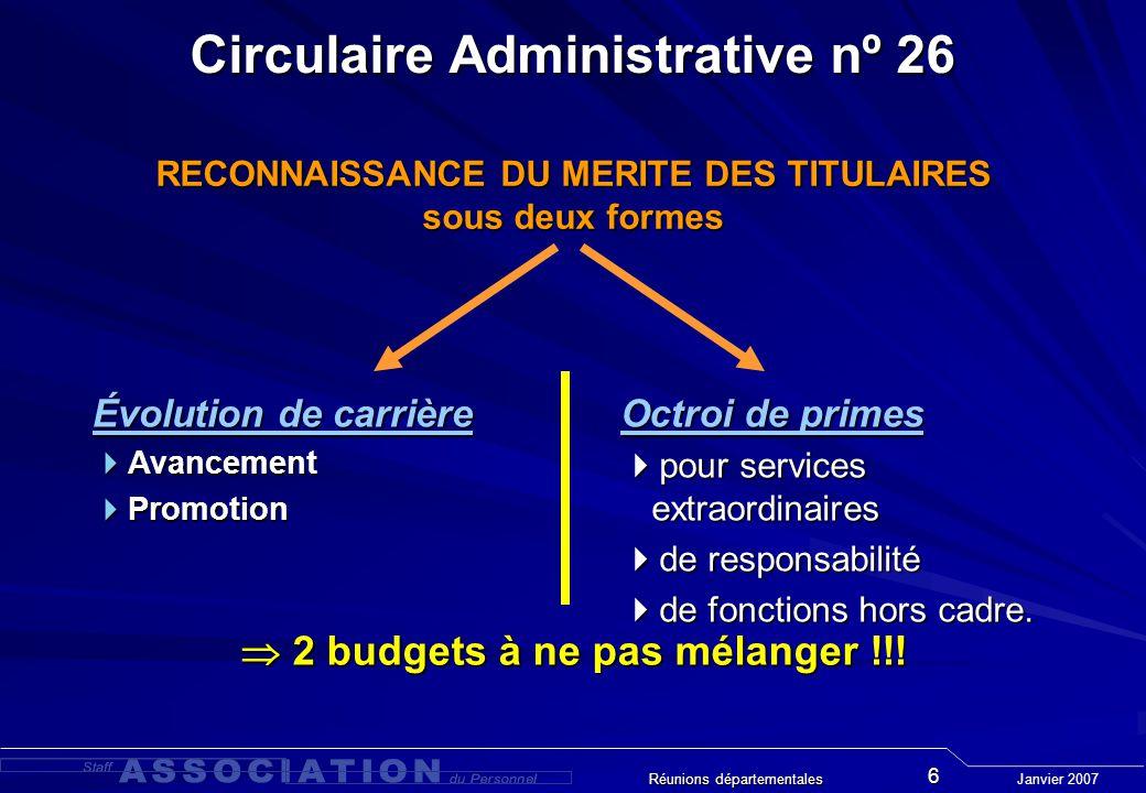 Janvier 2007 Réunions départementales 7 Circulaire Administrative nº 26 RECONNAISSANCE DU MERITE DES TITULAIRES - Processus décisionnel - SuperviséSuperviseur Chef Gpe Comité Dép.
