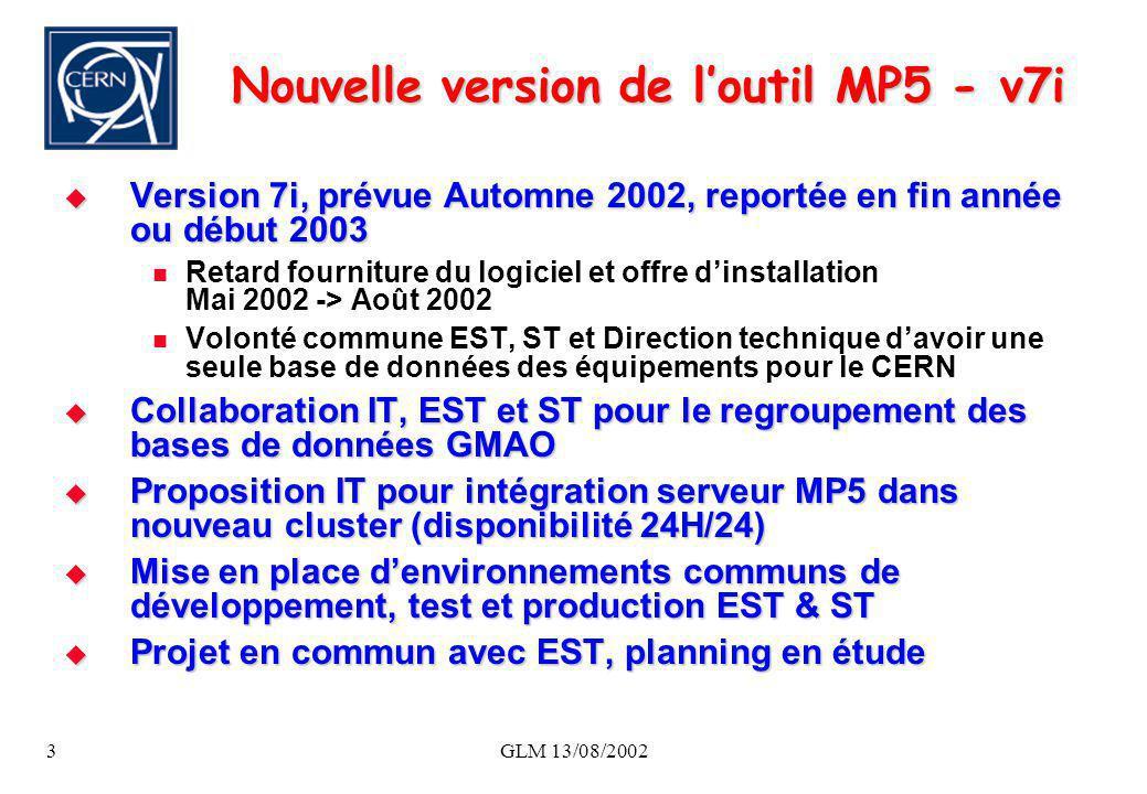 GLM 13/08/20023 Nouvelle version de loutil MP5 - v7i Version 7i, prévue Automne 2002, reportée en fin année ou début 2003 Version 7i, prévue Automne 2