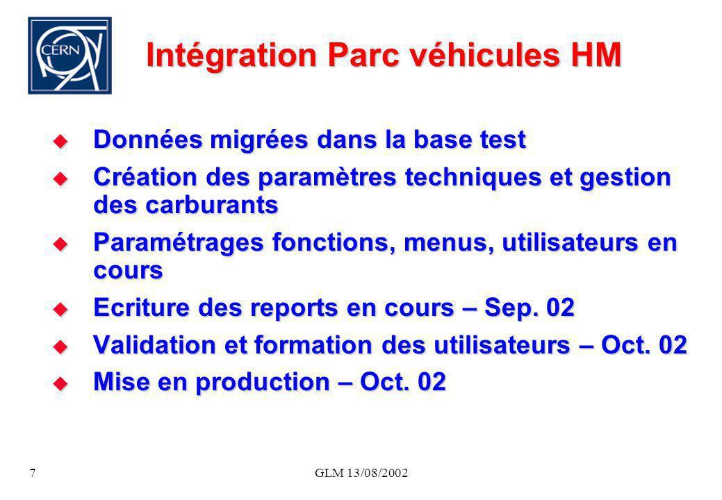 GLM 13/08/20027 Intégration Parc véhicules HM Données migrées dans la base test Données migrées dans la base test Création des paramètres techniques e
