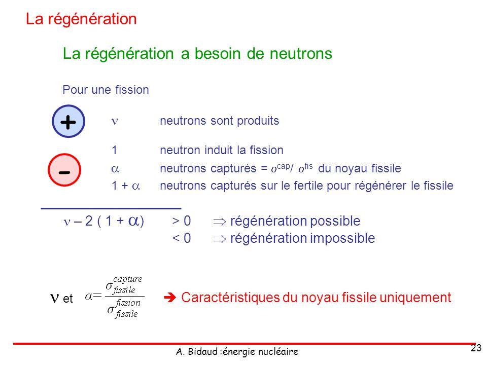 A. Bidaud :énergie nucléaire 23 La régénération a besoin de neutrons Pour une fission neutrons sont produits 1 neutron induit la fission neutrons capt