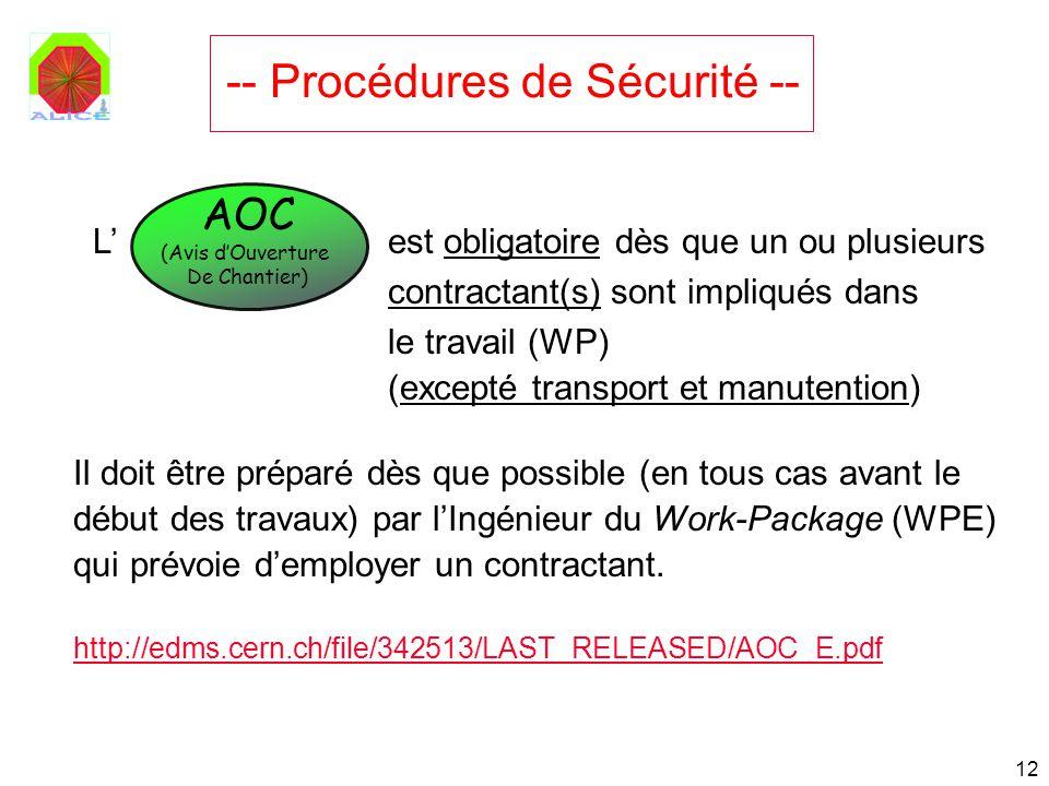 12 L est obligatoire dès que un ou plusieurs contractant(s) sont impliqués dans le travail (WP) (excepté transport et manutention) Il doit être prépar
