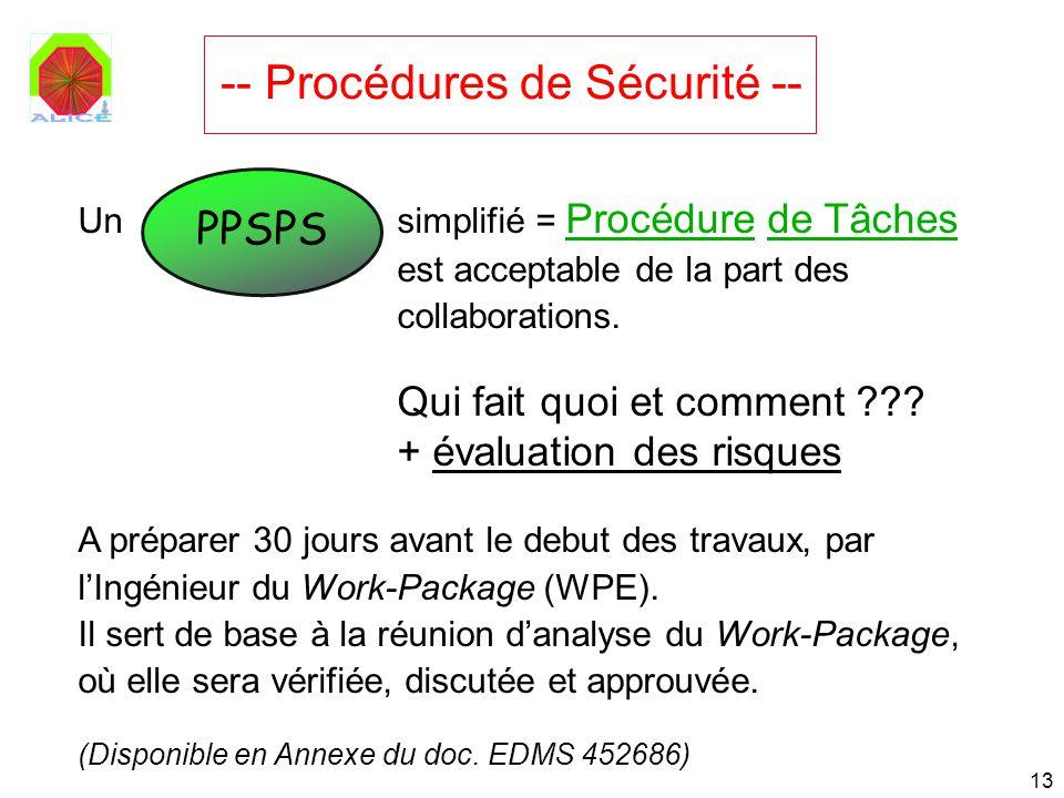 13 PPSPS Un simplifié = Procédure de Tâches est acceptable de la part des collaborations. Qui fait quoi et comment ??? + évaluation des risques A prép