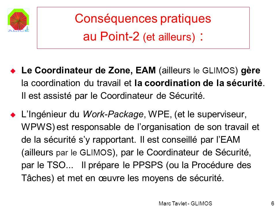Marc Tavlet - GLIMOS7 Exemples pratiques au Point-2 : Si vous venez installer du matériel qui fera définitivement partie du détecteur ALICE, le GLIMOS (M.Tavlet) vérifie ce que vous installez (exemple : matériaux inflammables, gaz, conformité électrique, etc., car ceci concerne la future sécurité intrinsèque de lexpérience), lEAM (S.Evrard) vérifie comment vous réalisez linstallation.