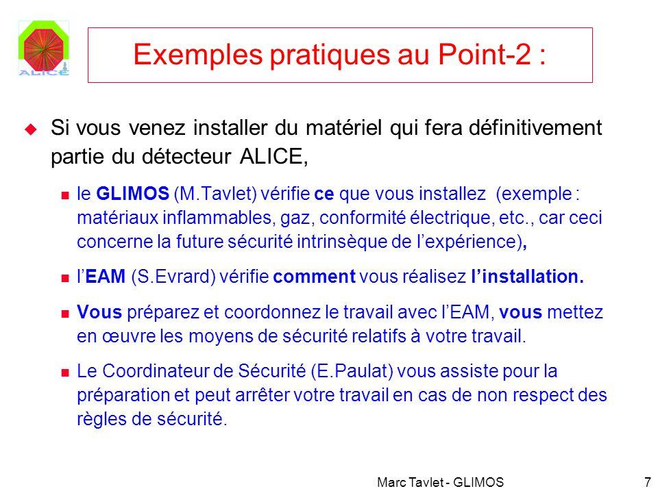 Marc Tavlet - GLIMOS7 Exemples pratiques au Point-2 : Si vous venez installer du matériel qui fera définitivement partie du détecteur ALICE, le GLIMOS