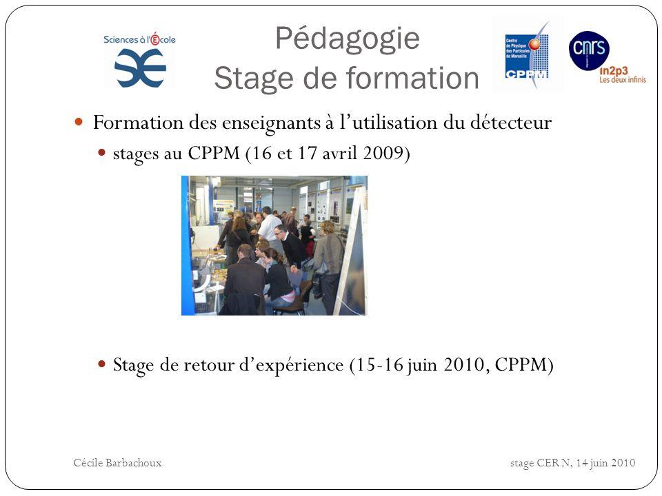 Pédagogie Stage de formation Formation des enseignants à lutilisation du détecteur stages au CPPM (16 et 17 avril 2009) Stage de retour dexpérience (1