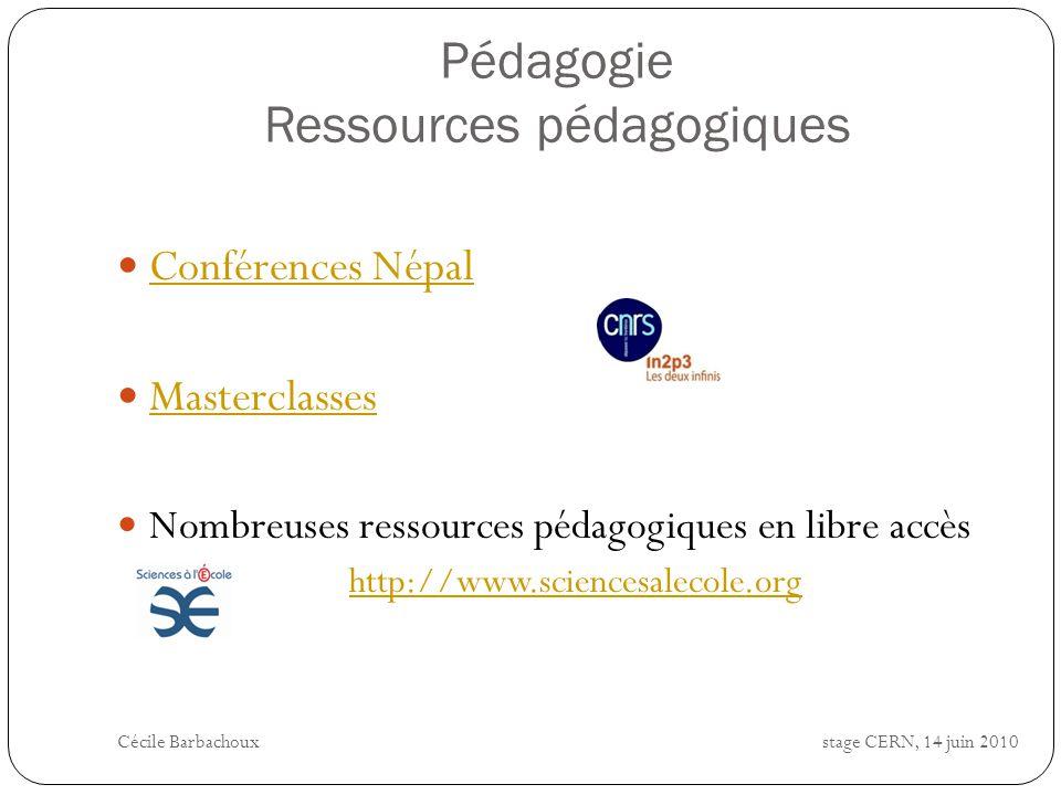 Pédagogie Ressources pédagogiques Conférences Népal Masterclasses Nombreuses ressources pédagogiques en libre accès http://www.sciencesalecole.org Céc