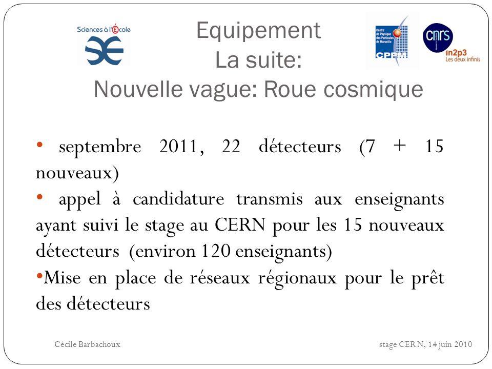 Equipement La suite: Nouvelle vague: Roue cosmique septembre 2011, 22 détecteurs (7 + 15 nouveaux) appel à candidature transmis aux enseignants ayant