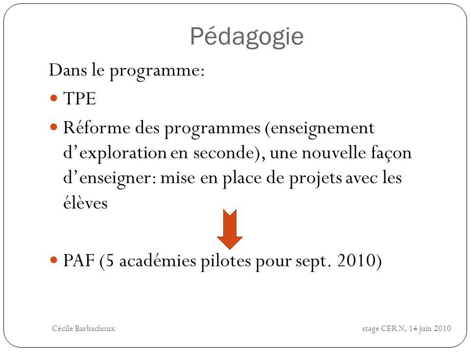 Pédagogie Dans le programme: TPE Réforme des programmes (enseignement dexploration en seconde), une nouvelle façon denseigner: mise en place de projet