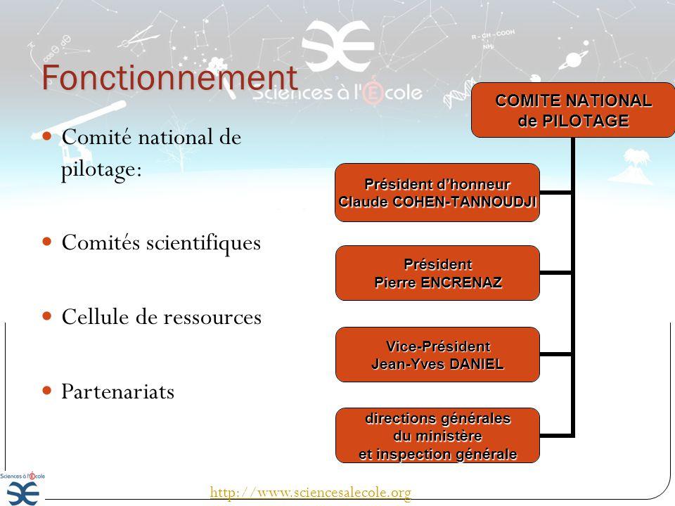 Fonctionnement Comité national de pilotage: Comités scientifiques Cellule de ressources Partenariats COMITE NATIONAL de PILOTAGE Président dhonneur Cl