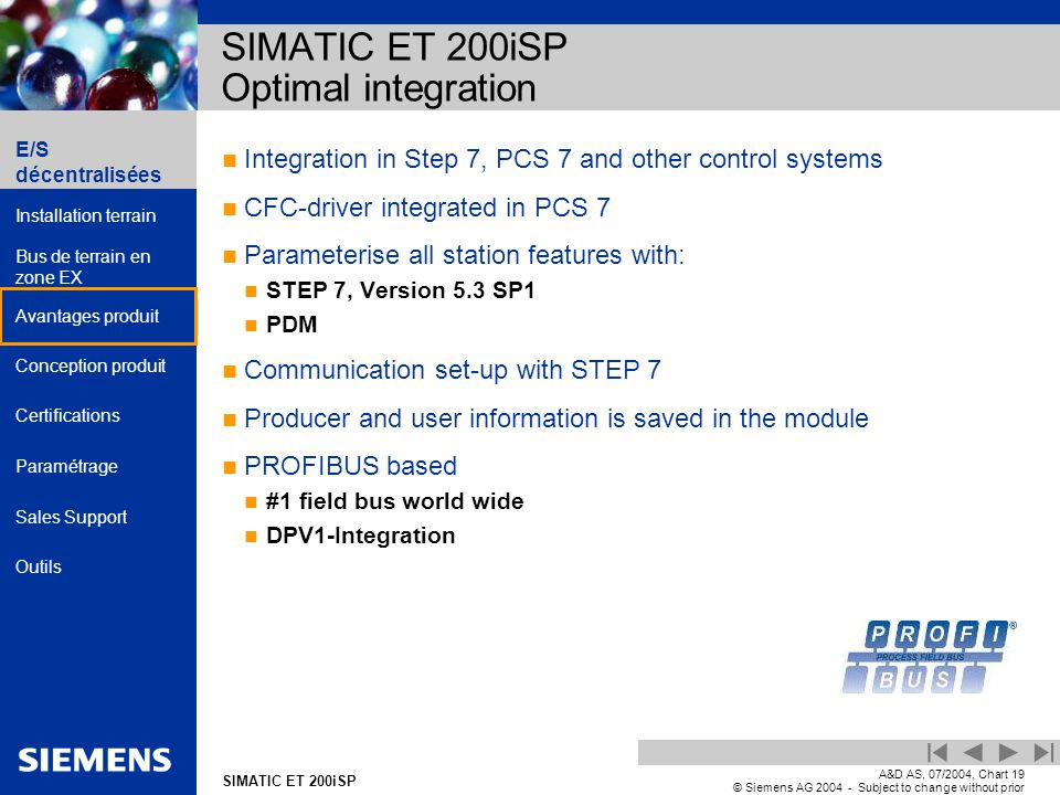 E/S décentralisées Installation terrain Bus de terrain en zone EX Avantages produit Conception produit Certifications Paramétrage Sales Support Outils Automation and Drives SIMATIC ET 200iSP A&D AS, 07/2004, Chart19 © Siemens AG 2004 - Subject to change without prior notice Integration in Step 7, PCS 7 and other control systems CFC-driver integrated in PCS 7 Parameterise all station features with: STEP 7, Version 5.3 SP1 PDM Communication set-up with STEP 7 Producer and user information is saved in the module PROFIBUS based #1 field bus world wide DPV1-Integration SIMATIC ET 200iSP Optimal integration