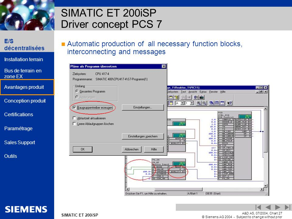 E/S décentralisées Installation terrain Bus de terrain en zone EX Avantages produit Conception produit Certifications Paramétrage Sales Support Outils Automation and Drives SIMATIC ET 200iSP A&D AS, 07/2004, Chart27 © Siemens AG 2004 - Subject to change without prior notice Automatic production of all necessary function blocks, interconnecting and messages SIMATIC ET 200iSP Driver concept PCS 7