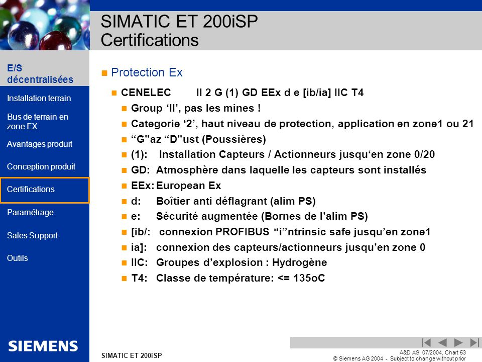 E/S décentralisées Installation terrain Bus de terrain en zone EX Avantages produit Conception produit Certifications Paramétrage Sales Support Outils Automation and Drives SIMATIC ET 200iSP A&D AS, 07/2004, Chart53 © Siemens AG 2004 - Subject to change without prior notice Protection Ex CENELECII 2 G (1) GD EEx d e [ib/ia] IIC T4 Group II, pas les mines .