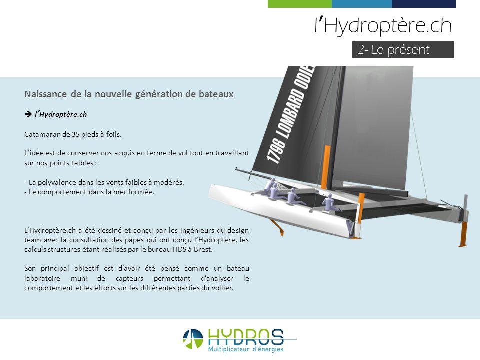 lHydroptère.ch 2- Le présent Naissance de la nouvelle génération de bateaux lHydroptère.ch Catamaran de 35 pieds à foils. Lidée est de conserver nos a