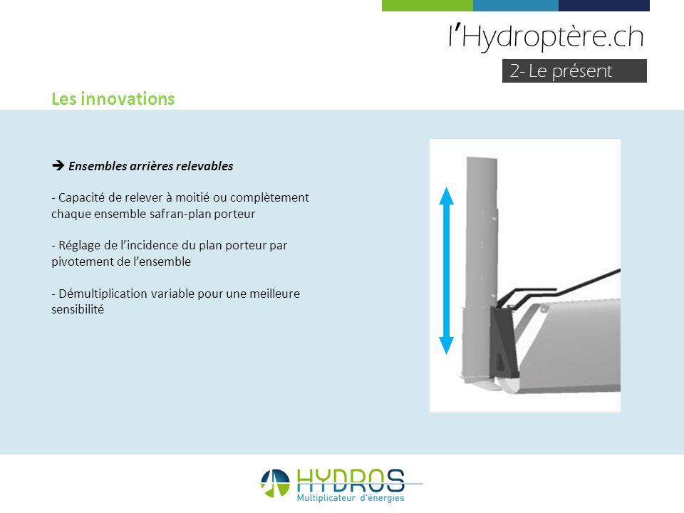 lHydroptère.ch 2- Le présent Les innovations Ensembles arrières relevables - Capacité de relever à moitié ou complètement chaque ensemble safran-plan