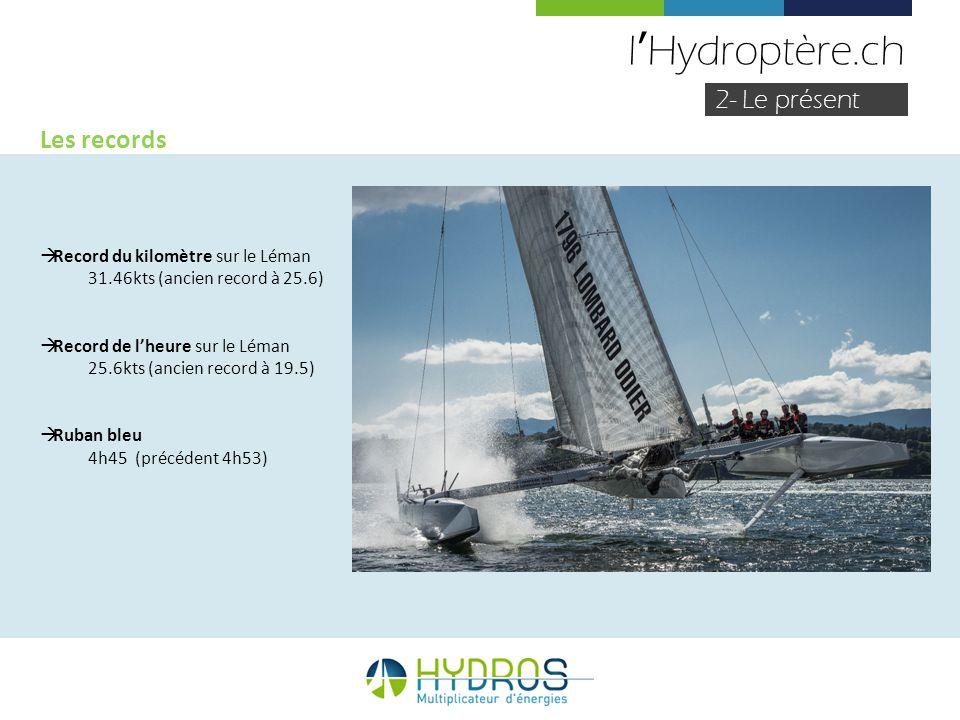 lHydroptère.ch 2- Le présent Les records Record du kilomètre sur le Léman 31.46kts (ancien record à 25.6) Record de lheure sur le Léman 25.6kts (ancie