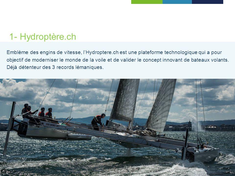 1- Hydroptère.ch Emblème des engins de vitesse, lHydroptere.ch est une plateforme technologique qui a pour objectif de moderniser le monde de la voile