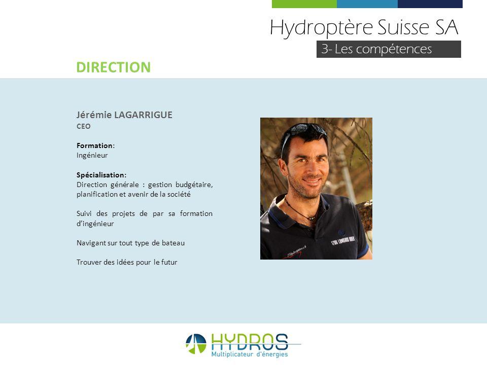 Hydroptère Suisse SA 3- Les compétences Jérémie LAGARRIGUE CEO Formation: Ingénieur Spécialisation: Direction générale : gestion budgétaire, planifica