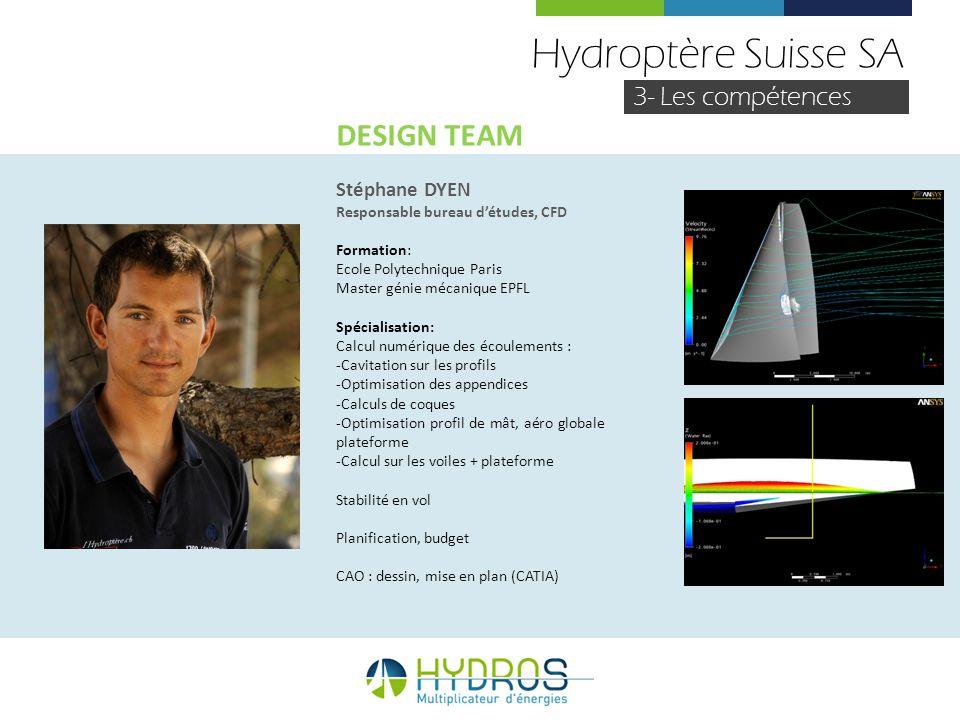 Hydroptère Suisse SA 3- Les compétences Stéphane DYEN Responsable bureau détudes, CFD Formation: Ecole Polytechnique Paris Master génie mécanique EPFL