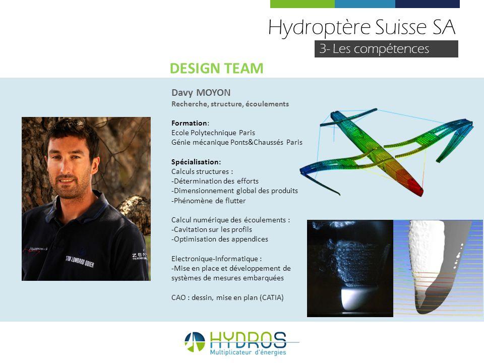 Hydroptère Suisse SA 3- Les compétences Davy MOYON Recherche, structure, écoulements Formation: Ecole Polytechnique Paris Génie mécanique Ponts&Chauss