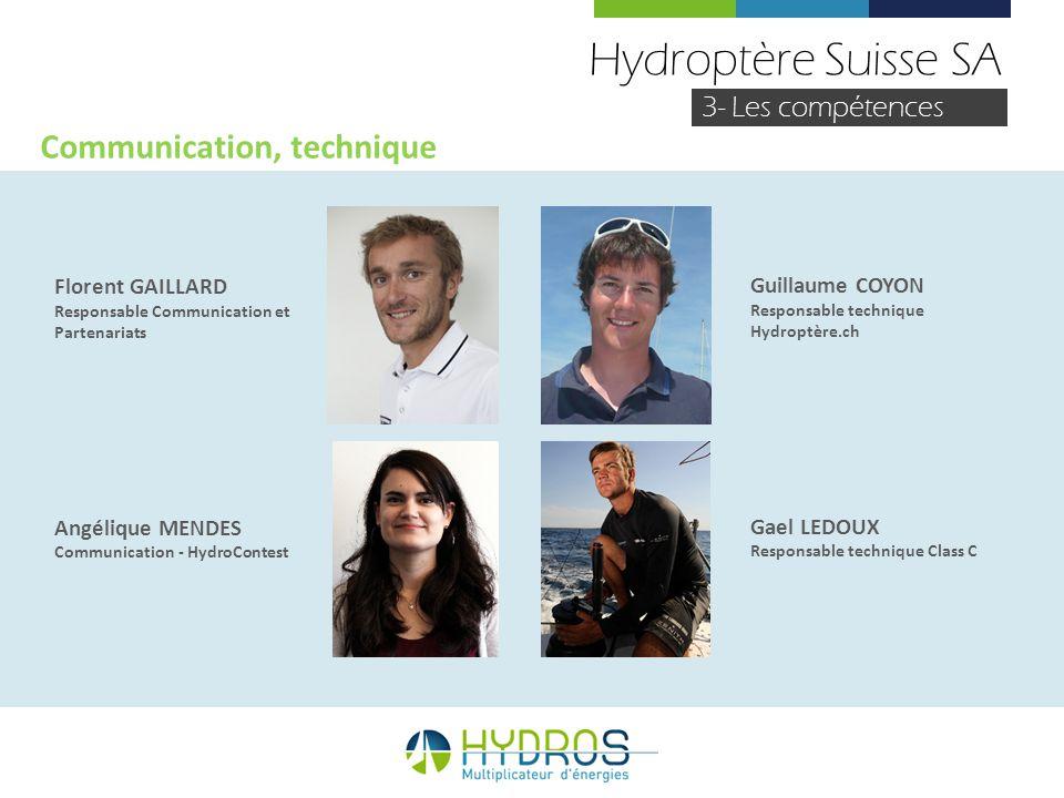 Hydroptère Suisse SA 3- Les compétences Florent GAILLARD Responsable Communication et Partenariats Angélique MENDES Communication - HydroContest Commu