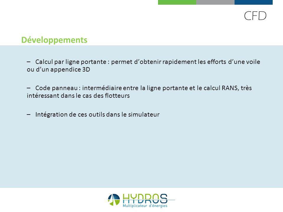 CFD Développements –Calcul par ligne portante : permet dobtenir rapidement les efforts dune voile ou dun appendice 3D –Code panneau : intermédiaire en