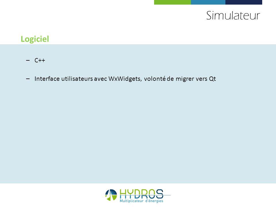 Simulateur Logiciel –C++ –Interface utilisateurs avec WxWidgets, volonté de migrer vers Qt