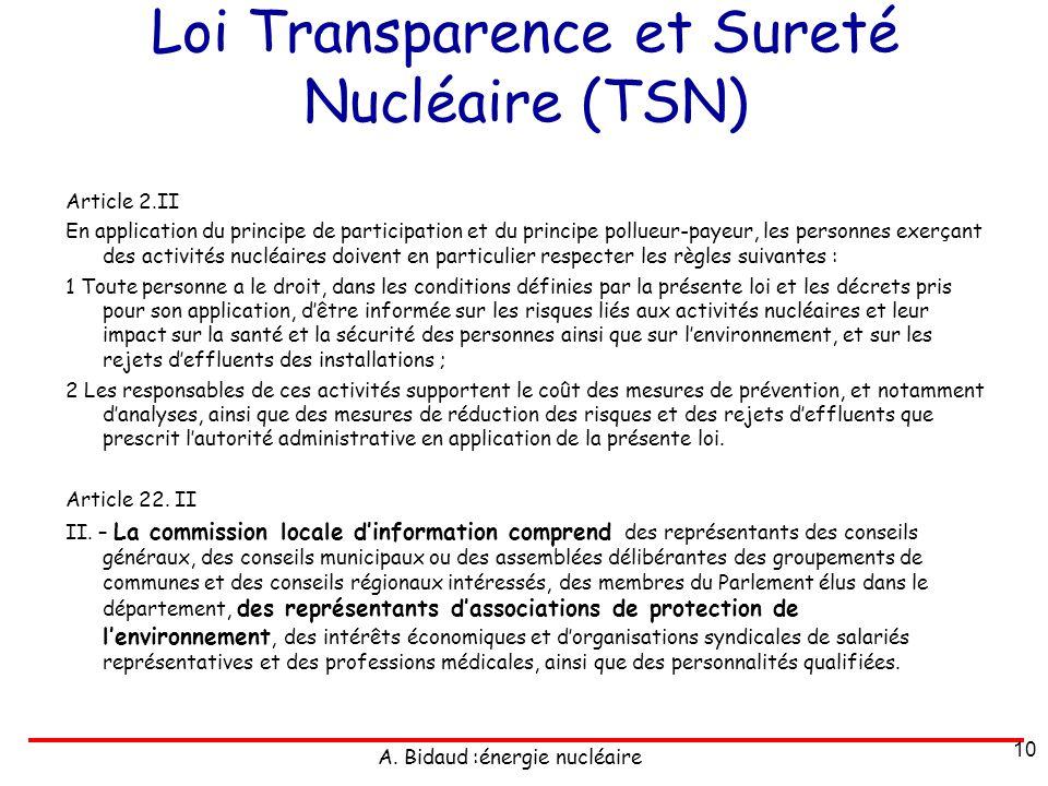 A. Bidaud :énergie nucléaire Loi Transparence et Sureté Nucléaire (TSN) Article 2.II En application du principe de participation et du principe pollue